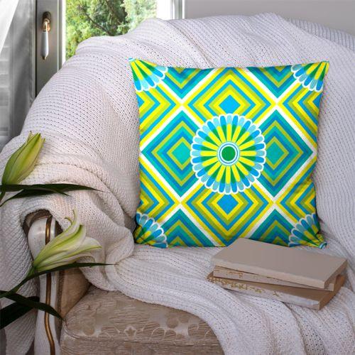 Coupon 45x45 cm motif rosace jaune et verte - Création Lita Blanc