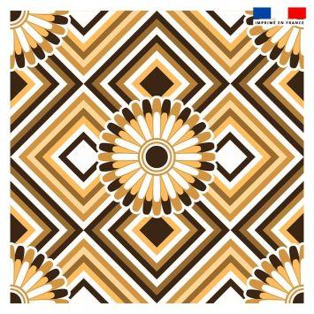 Coupon 45x45 cm motif rosace marron - Création Lita Blanc