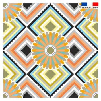 Coupon 45x45 cm motif rosace orange et bleue - Création Lita Blanc