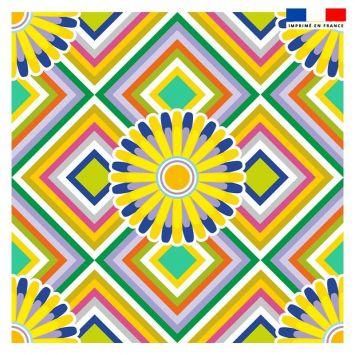 Coupon 45x45 cm motif rosace jaune et violette - Création Lita Blanc