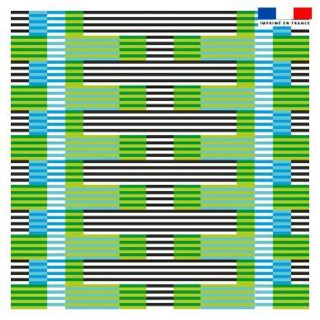 Coupon 45x45 cm motif rayé vert - Création Lita Blanc
