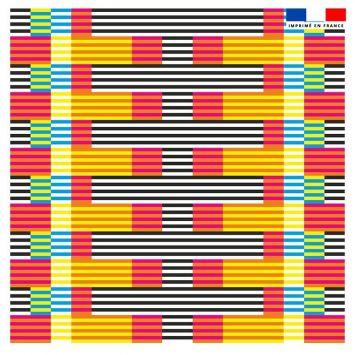 Coupon 45x45 cm motif rayé rouge - Création Lita Blanc