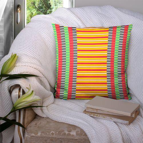 Coupon 45x45 cm motif rayures rouges - Création Lita Blanc