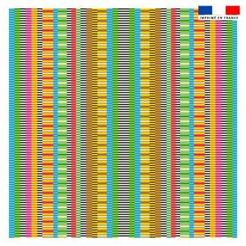 Coupon 45x45 cm motif petites rayures multicolores - Création Lita Blanc