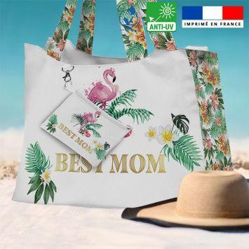 Kit sac de plage imperméable blanc motif maman exotique - King size