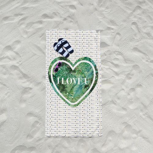 Coupon éponge pour serviette de plage simple motif I love u