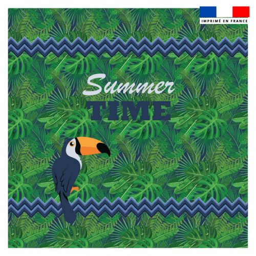 Coupon éponge pour serviette de plage double vert motif toucan et feuille tropicale