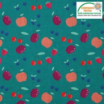 coupon - Coupon 23cm - Coton vert canard motif fruits rouges