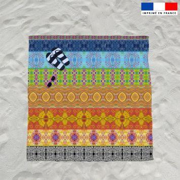 Coupon éponge pour serviette de plage double motif bandes colorées - Création Lita Blanc