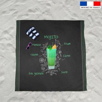 Coupon éponge pour serviette de plage double motif mojito