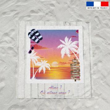 Coupon éponge pour serviette de plage double motif coucher de soleil