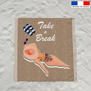 Coupon éponge pour serviette de plage double motif take a break