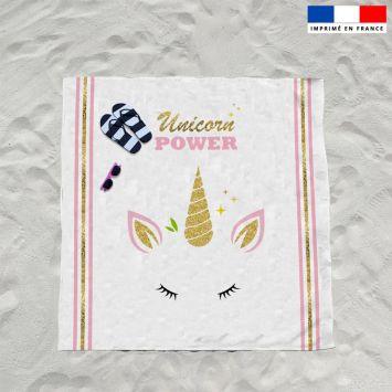 Coupon éponge pour serviette de plage double blanc motif licorne gold