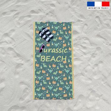 Coupon éponge pour serviette de plage simple motif jurassic beach