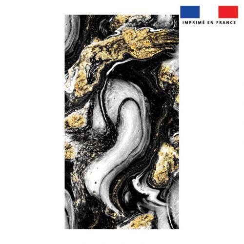 Coupon éponge pour serviette de plage simple motif magma gris et poudre d'or