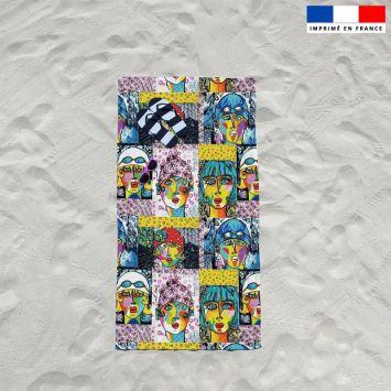 Coupon éponge pour serviette de plage simple motif femmes modernes - Création Razowsky