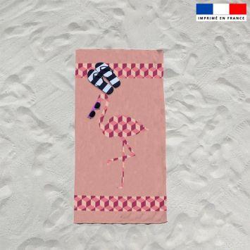 Coupon éponge pour serviette de plage simple rose motif flamant cubique
