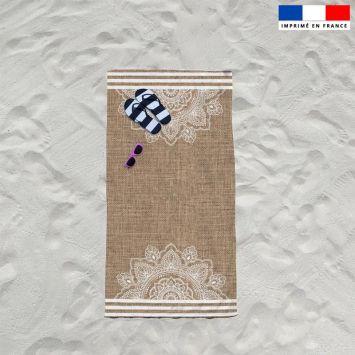 Coupon éponge pour serviette de plage simple motif mandala effet jute