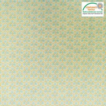 coupon - Coupon 26cm - Coton vert anis motif trèfle riad