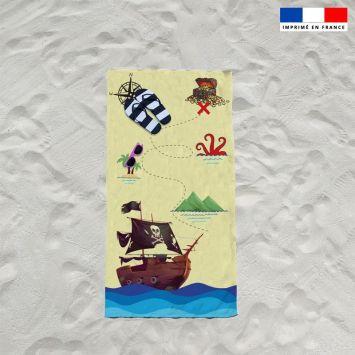 Coupon éponge pour serviette de plage simple motif pirate