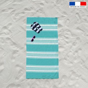 Coupon éponge pour serviette de plage simple vert d'eau motif fouta symétrique