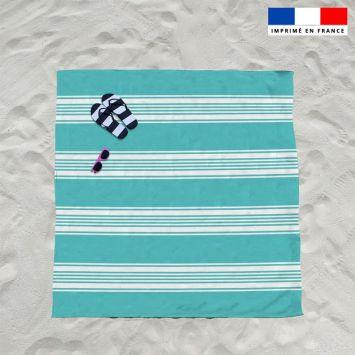 Coupon éponge pour serviette de plage double vert d'eau motif fouta symétrique
