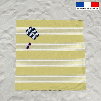 Coupon éponge pour serviette de plage double jaune motif fouta symétrique