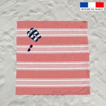 Coupon éponge pour serviette de plage double rouge motif fouta symétrique