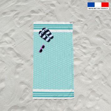 Coupon éponge pour serviette de plage simple vert d'eau motif fouta japonaise