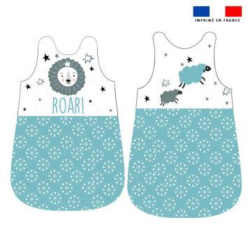 Coupon velours d'habillement pour gigoteuse motif baby bleu et gris