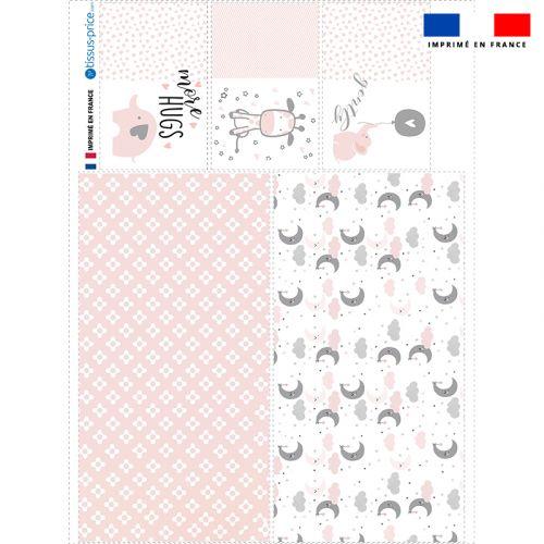 Coupon velours d'habillement pour vide-poches motif baby rose et gris