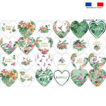 Coupon éponge pour lingettes démaquillantes formes coeur motif maman exotique