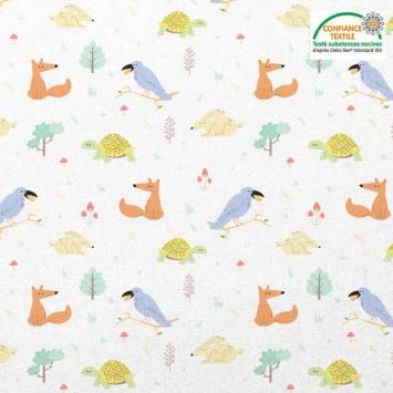 coupon - Coupon 73cm - Coton blanc motif tortue renard lapin et oiseau Oeko-tex