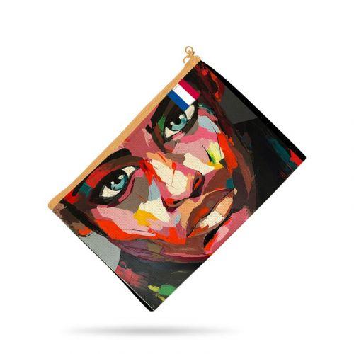 Kit pochette noire motif portrait rouge - Création Lily Tissot