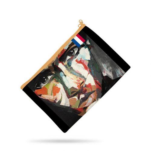 Kit pochette noire motif portrait homme - Création Lily Tissot