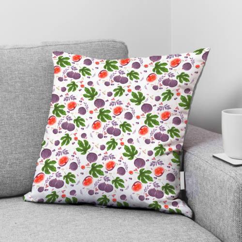 coupon - Coupon 87cm - Coton blanc motif figue violette