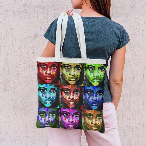 Coupon 45x45 cm motif patchwork de portraits - Création Lily Tissot