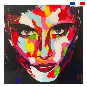 Coupon 45x45 cm motif portrait homme - Création Lily Tissot