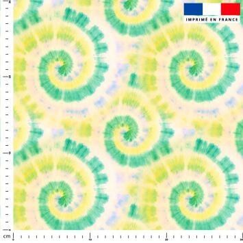 Tie and dye effet tourbillon - Fond vert