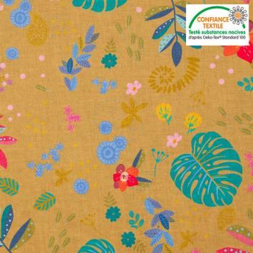 coupon - Coupon 28cm - Coton ocre motif mur floral bleu canard et rose
