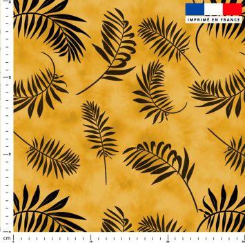 Tie and dye et palme effet aquarelle - Fond jaune moutarde
