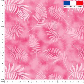 Tie and dye et palme effet aquarelle - Fond rose pastel