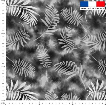Tie and dye et palme effet aquarelle - Fond gris