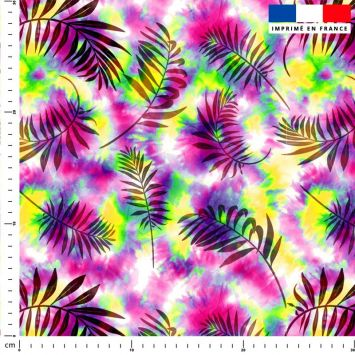 Tie and dye et palme effet aquarelle - Fond multicolore