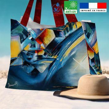 Kit sac de plage imperméable motif profondeur et équilibre - King size - Création Monique.D