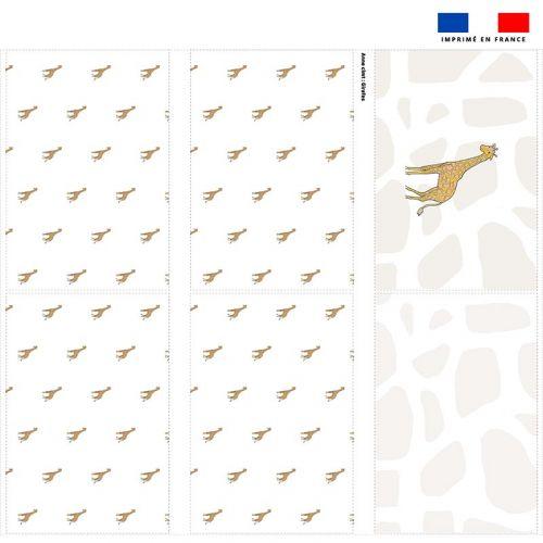 Coupon velours d'habillement pour tour de lit motif girafe blanche - Création Anne Clmt