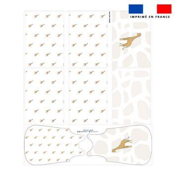 Coupon velours d'habillement motif girafe blanche - Gigoteuse et Tour de Lit - Création Anne Clmt