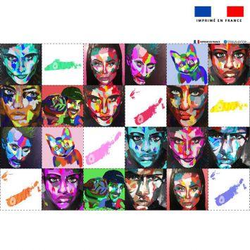 Coupon éponge pour lingettes démaquillantes motif portraits - Création Lily Tissot