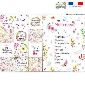 Coupon microfibre pour lingettes lavables motif maîtresse flowers Oeko-tex