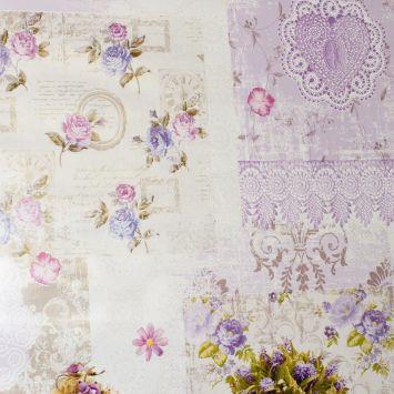 Toile cirée rose motif fleur et mandala